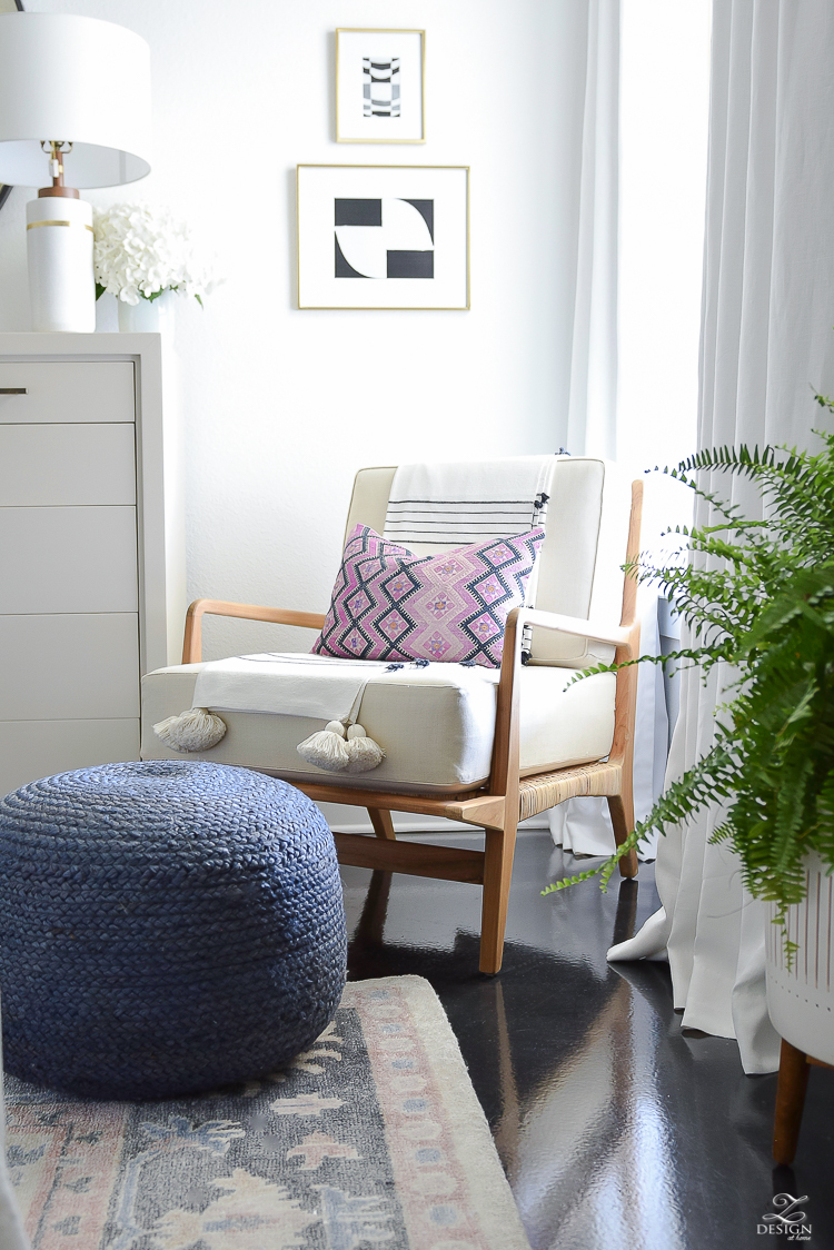 One Room Challenge Master Bedroom Reveal - Boho Rattan chair - ZDesign At Home