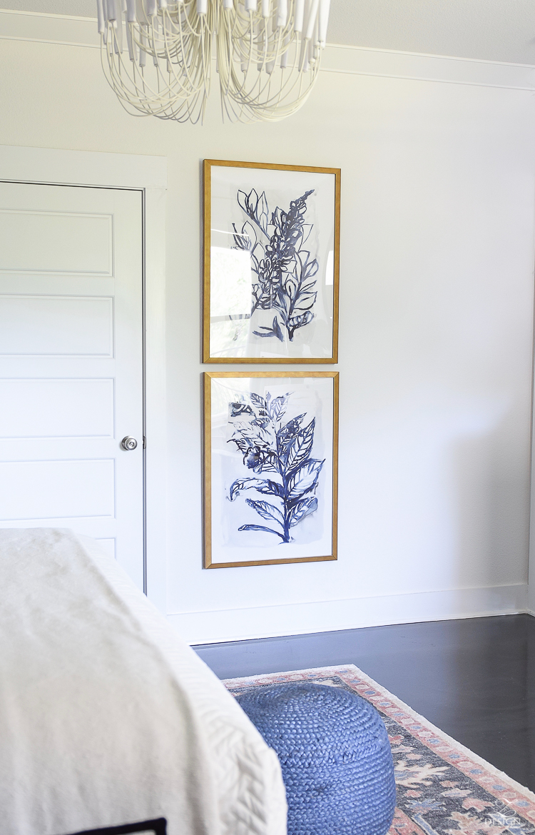 one room challenge master bedroom reveal - ZDesign At Home - navy botanical art prints