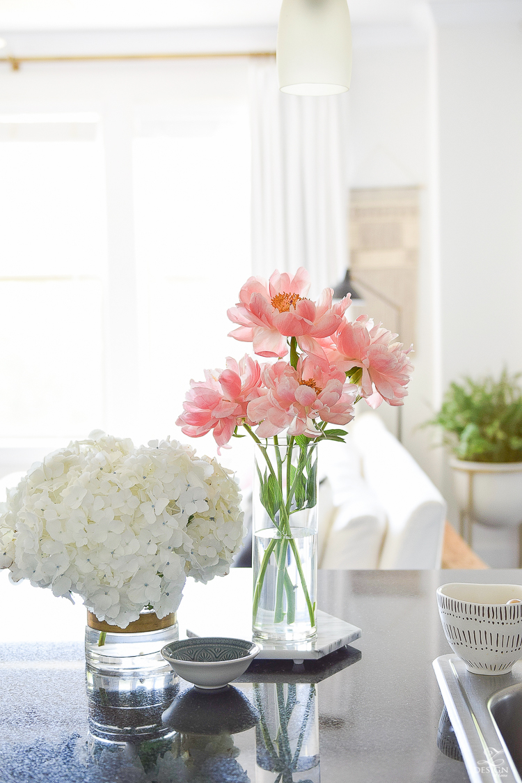 Pink Peonies on marble trivet - World Market Friends & Family Sale