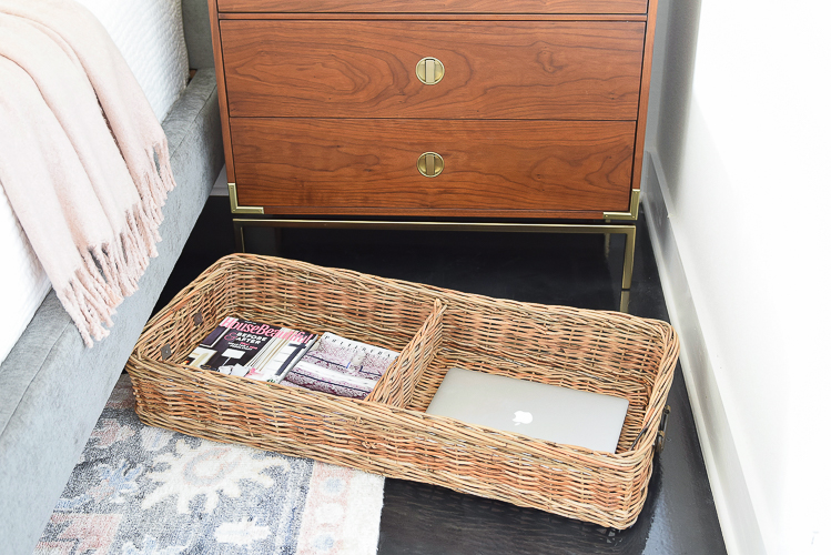 Under the bed basket for magazines and other essentials - bedroom storage