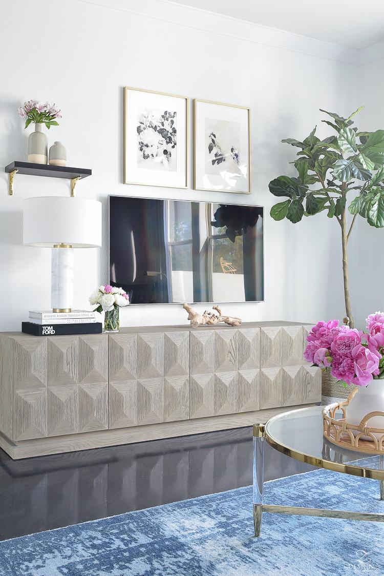 Summer Home Tour - faceted media cabinet, best faux fiddle leaf fig, marble lamp