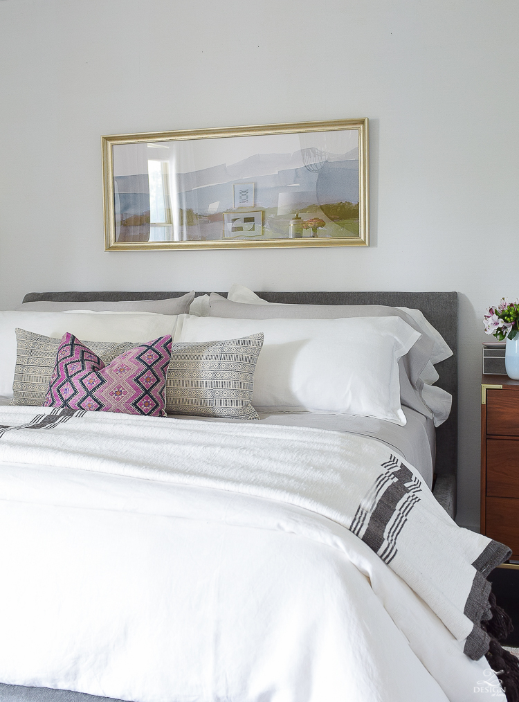 Summer bedroom tour - oversized abstract art for over the bed