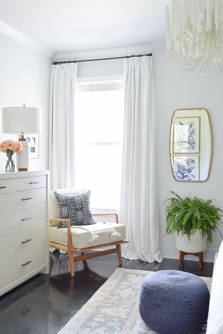 Summer Home Tour - Custom White Linen Curtains & Teak/Rattan Chair
