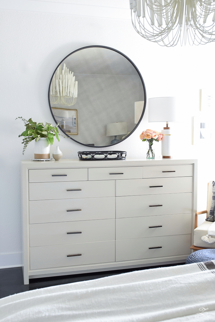 Summer bedroom tour - oversized dresser with black round mirror