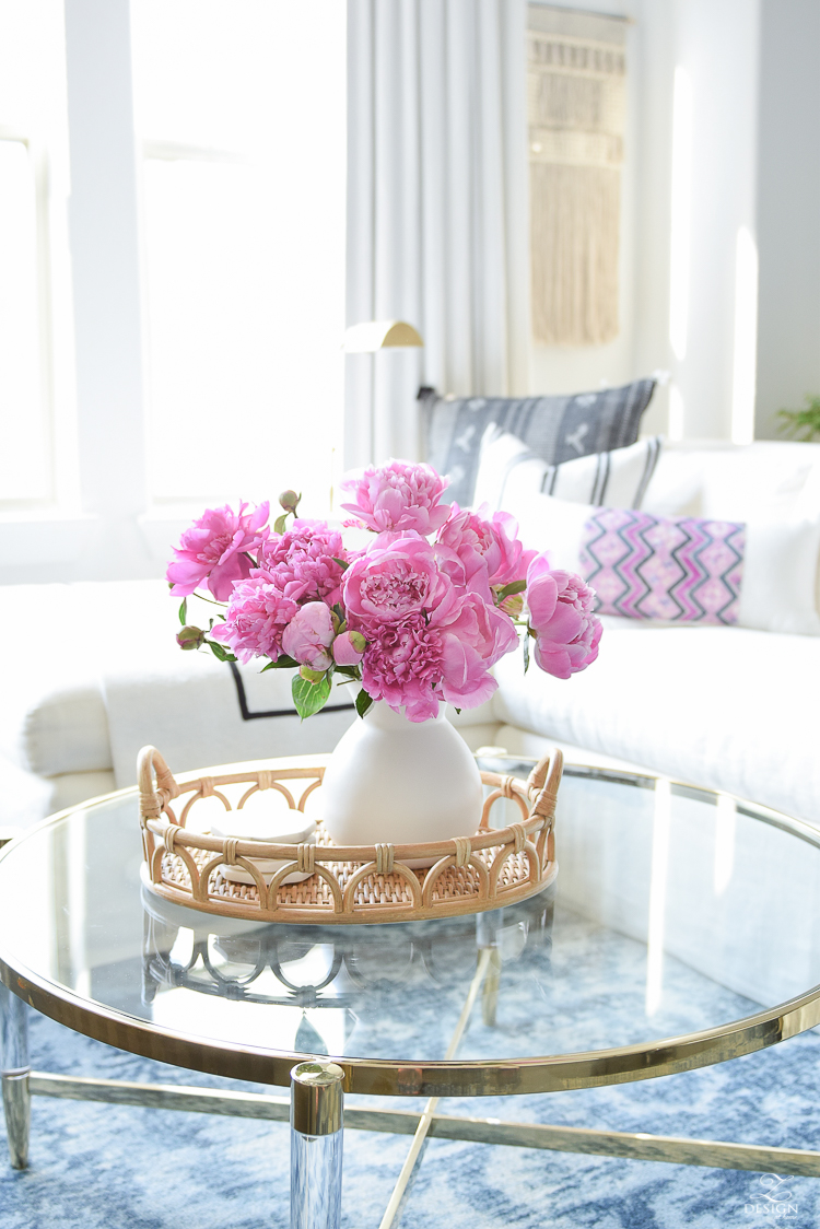 Summer Home Tour - Rattan Tray w/ Pink Peonies