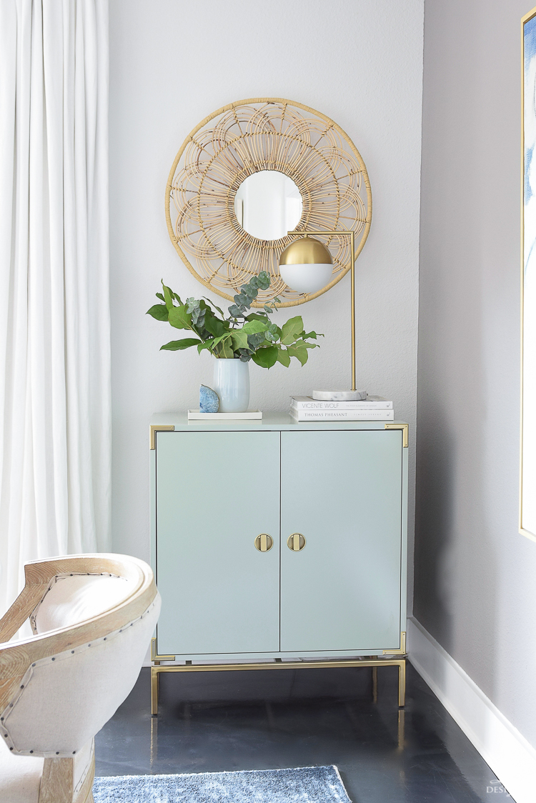 Summer Home Tour - Mint bar cabinet w/ rattan floral mirror