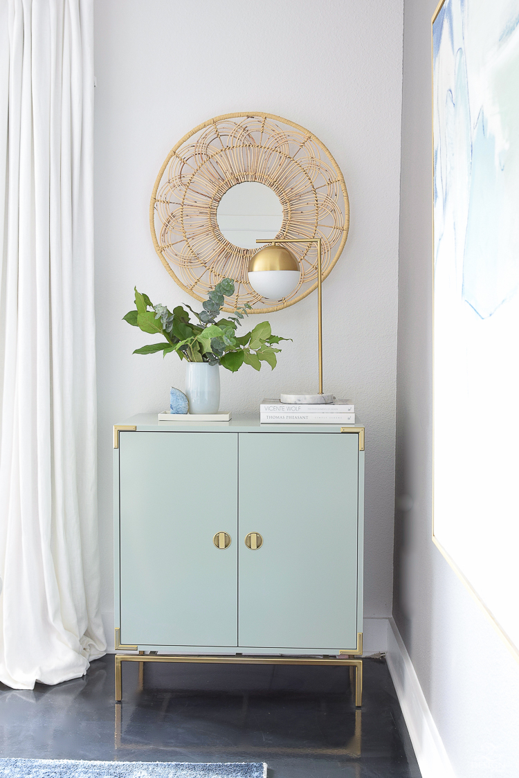 Boho Chic Summer Dining Room Tour - Mint Bar Cabinet w/ Rattan Floral Mirror