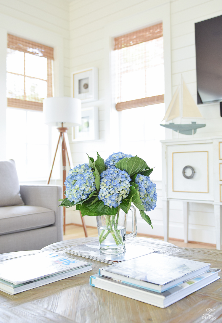 Beautiful Coastal Inspired Living Room in 30-A Florida - blue hydrangeas