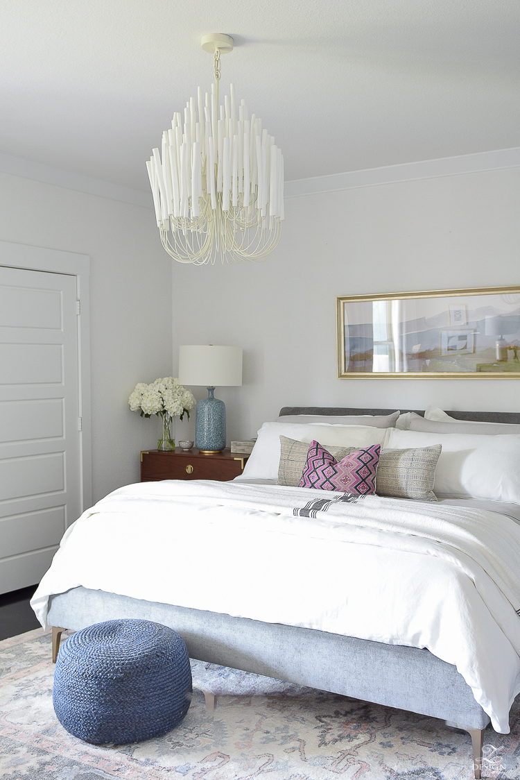 Summer Bedroom Tour - white wood petite chandelier