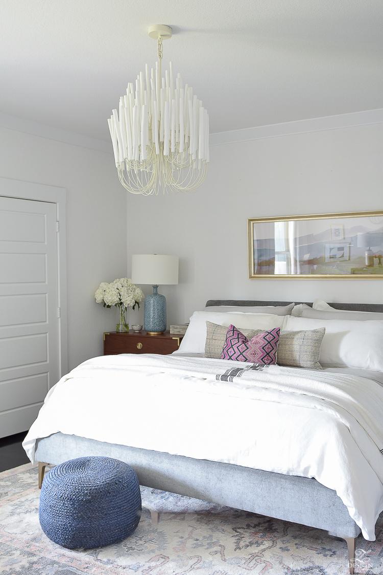Summer Bedroom Tour - white wood petite chandelier