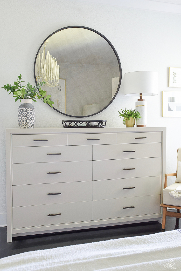Late Summer Refresh Tips & Home Tour - bedroom dresser decor, black round mirror