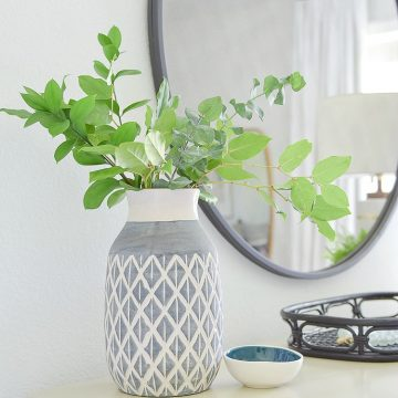 Late Summer Refresh Tips & Tour - Greenery in boho chic vase, round black mirror