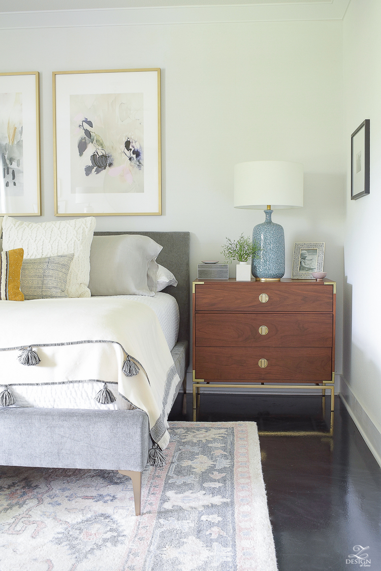 Early fall bedroom - harvest colors & cable knits in a light, airy bedroom
