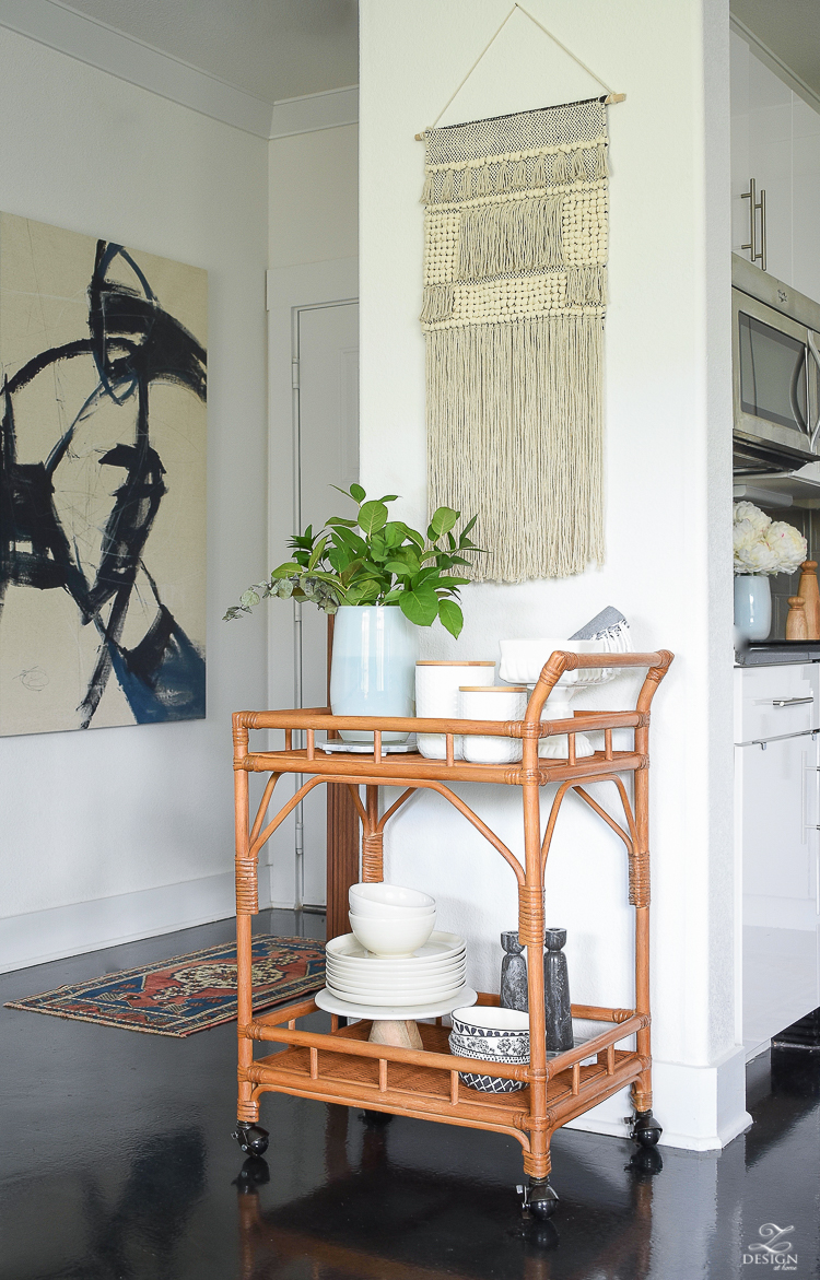 Bar Cart Styling Tips for the Kitchen - How to style a bar cart