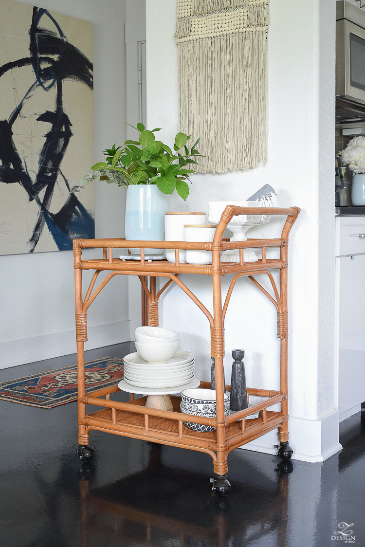 How to style a bar cart for the kitchen and more