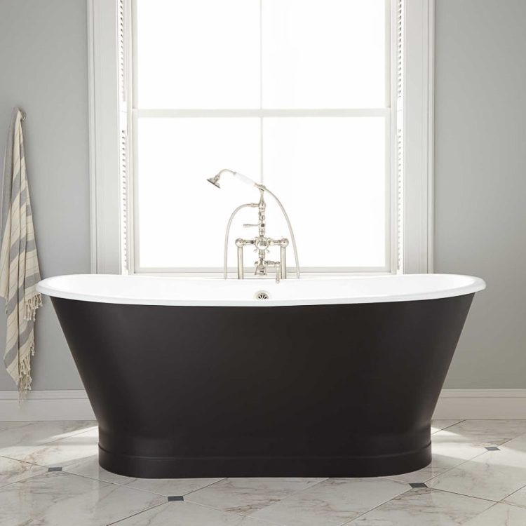 "Signature Hardware Black Kateryn-67""-free-standing-bath-tub"