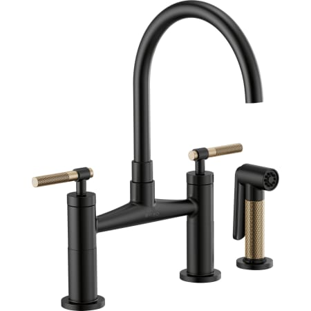Brizo Black bridge faucet with gold knurled accents
