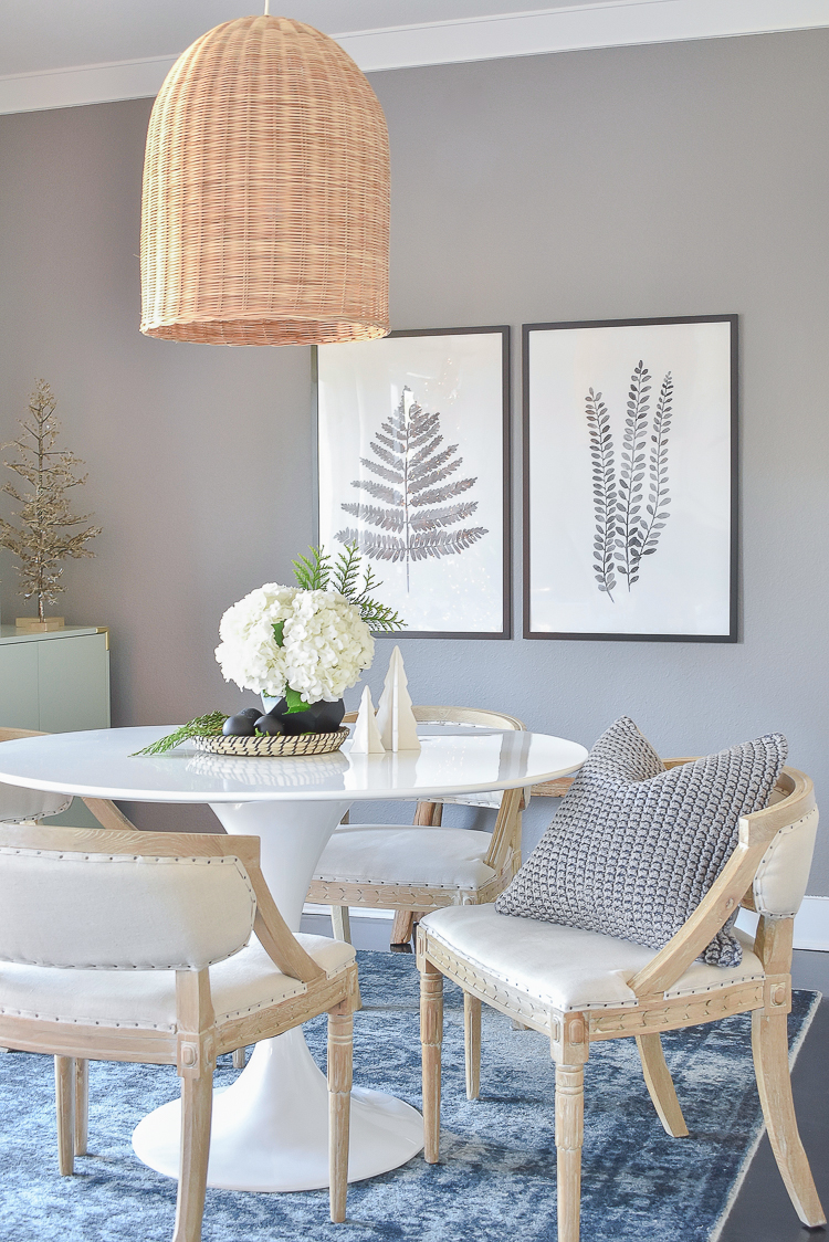 Styled For The Season - Christmas Dining Room with Black and white botanical art prints