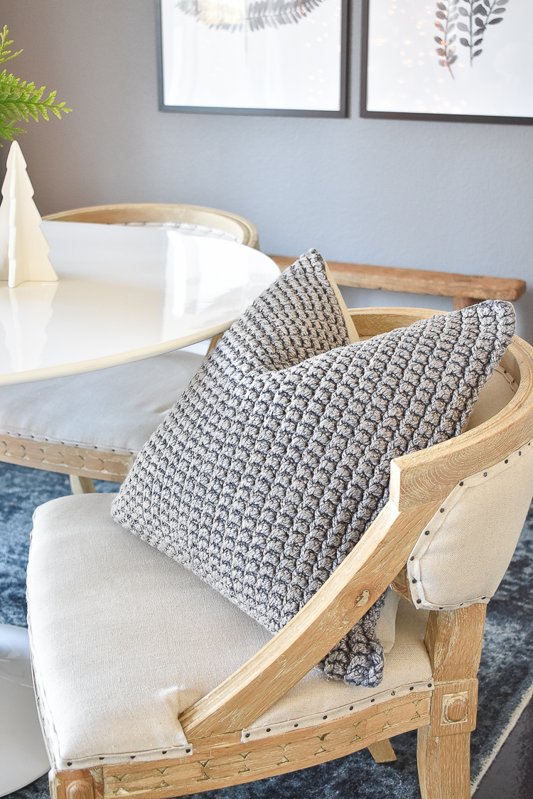 Styled For The Season - Christmas Dining Room - Chunky knit gray pillow cover