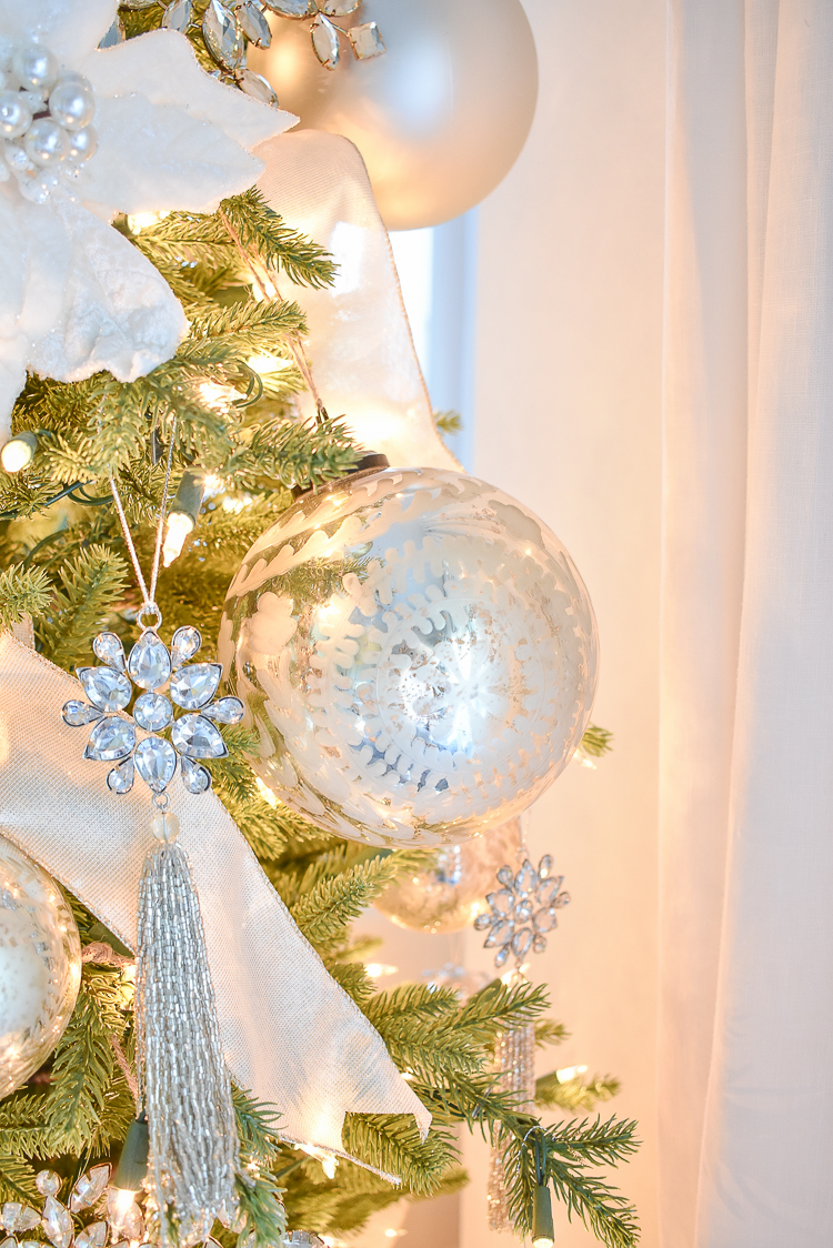 Styled For The Season Christmas Tour - crystal ornaments and modern gift wrap