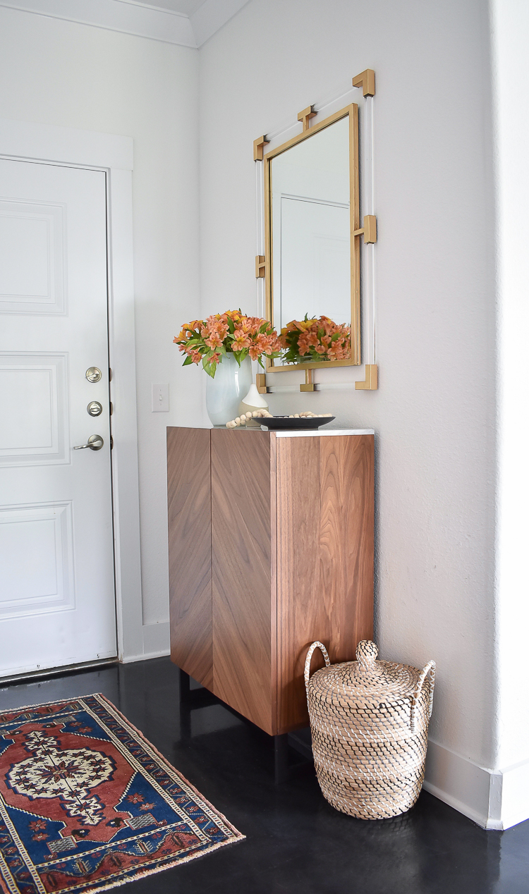 Small Transitional Entryway That Packs A Big Punch - Lucite and Gold Mirror