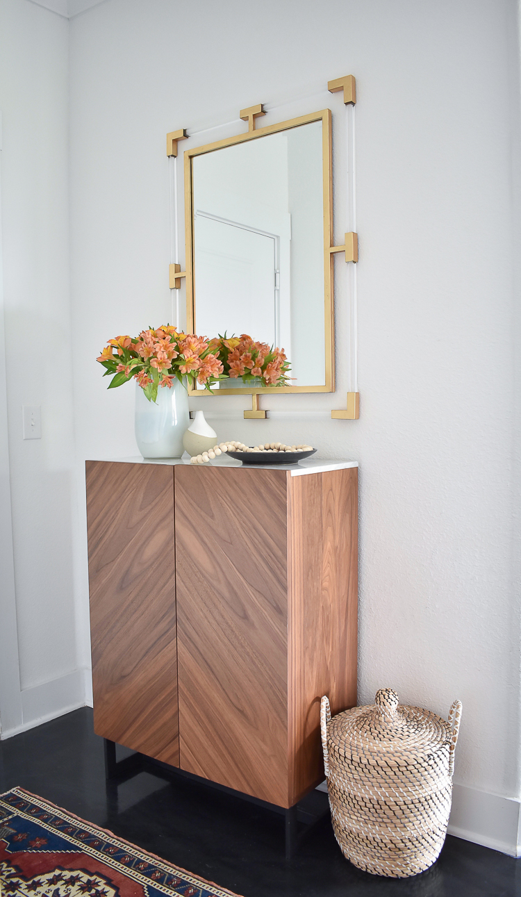 Small Transitional Entry That Packs A Big Punch - Modern Entry Cabinet w/ Marble Top & Lucite / Gold Mirror