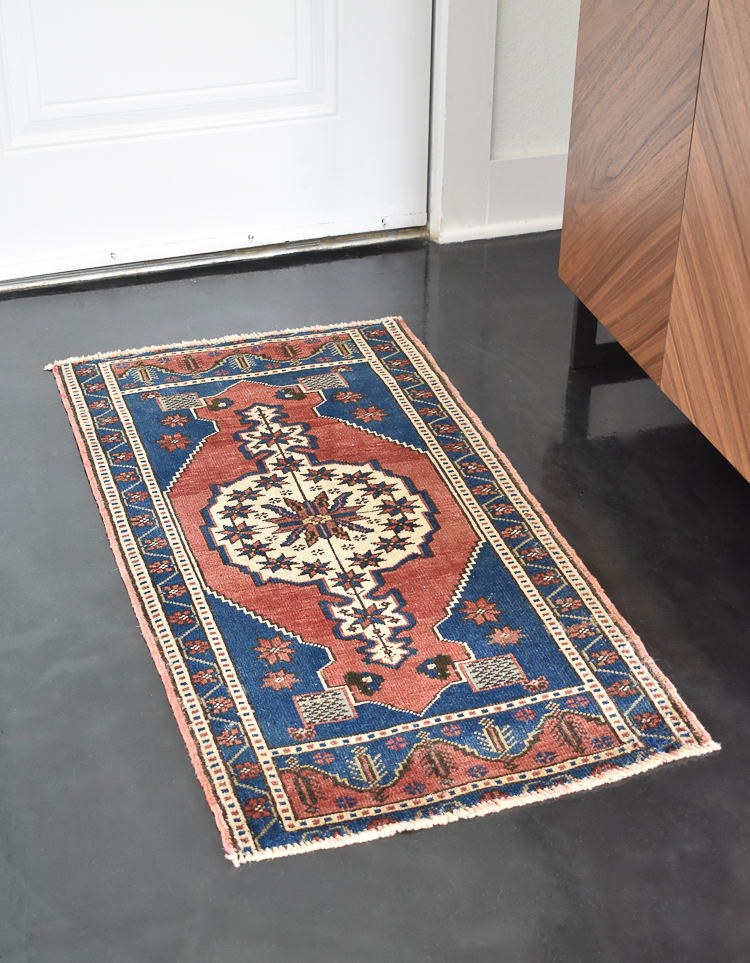 Small Transitional Entryway That Packs A Big Punch - 2x4 Turkish Rug in Blue, Rust & Cream