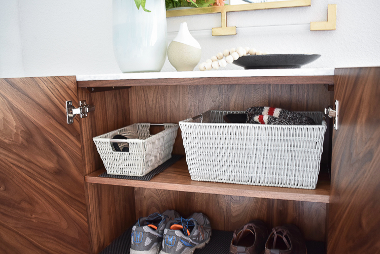 Small Transitional Entry That Packs A Big Punch - Best baskets that don't scratch furniture or shelves