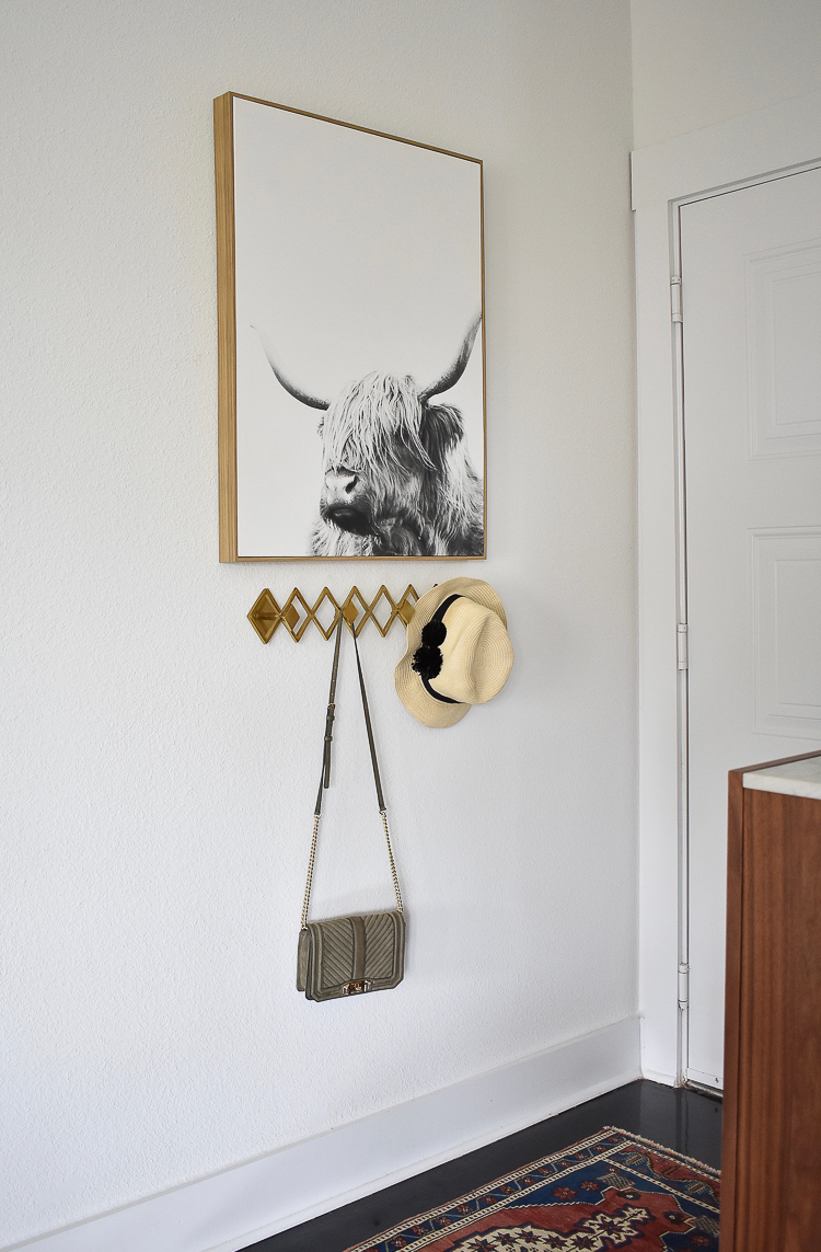 Small Transitional Entry That Packs A Big Punch - Geo brass wall multi wall hook and bull art on canvas