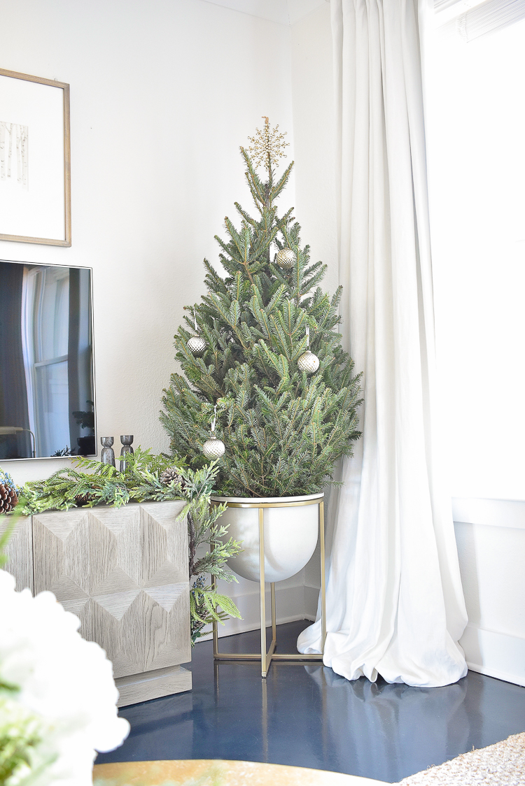 Styled For The Season Christmas Living Room Tour - Christmas tree in a planter