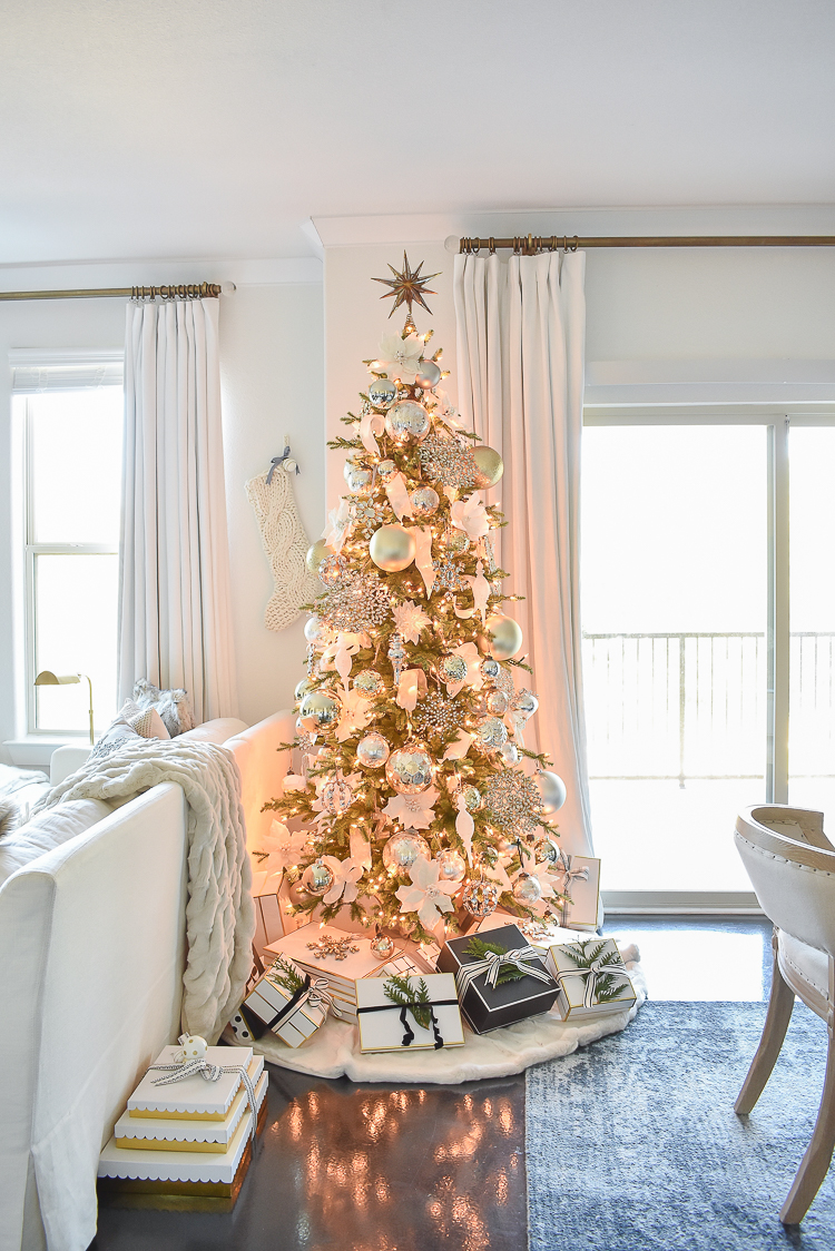 Styled For The Season Christmas Tour - Gold, white, glam Christmas tree