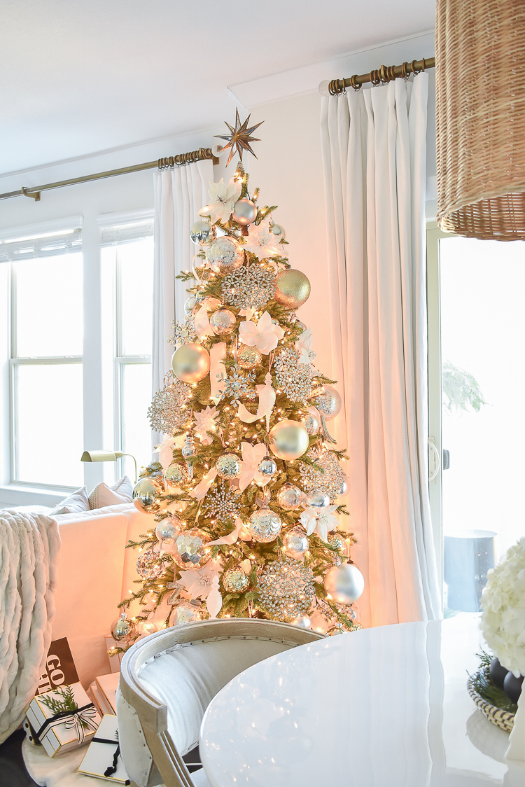 Styled For The Season Christmas Home Tour - white gold crystal glam tree