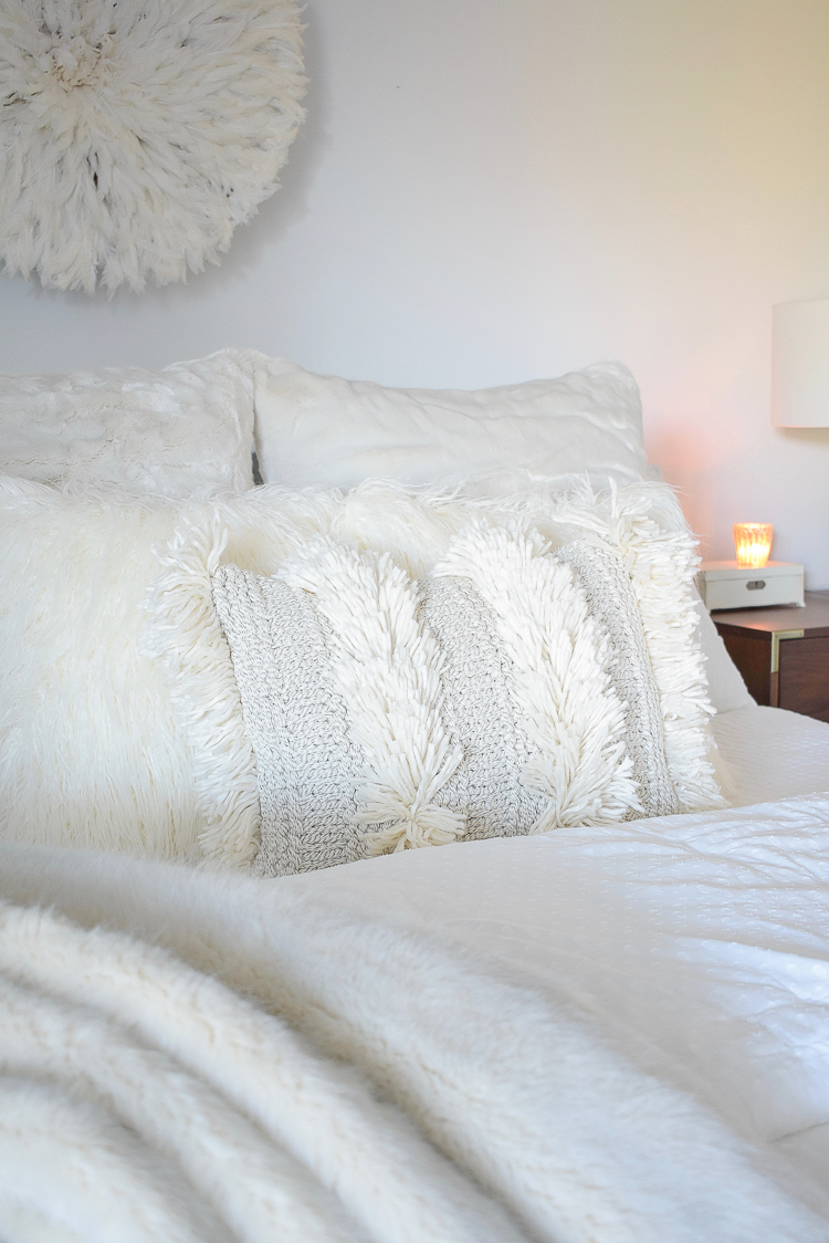 Boho Chic Neutral Christmas Bedroom Tour - Fringe and faux fur Pillows