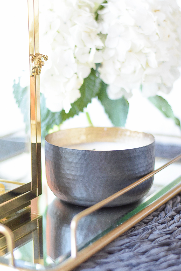 Best home furnishings and accessories from Walmart - gold lantern & black hammered candle pot