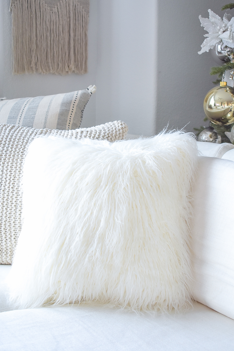 Mongolian faux fur pillow - best home accessories at Walmart