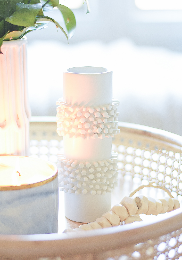 Creating a cozy winter home - tufted white bud vase