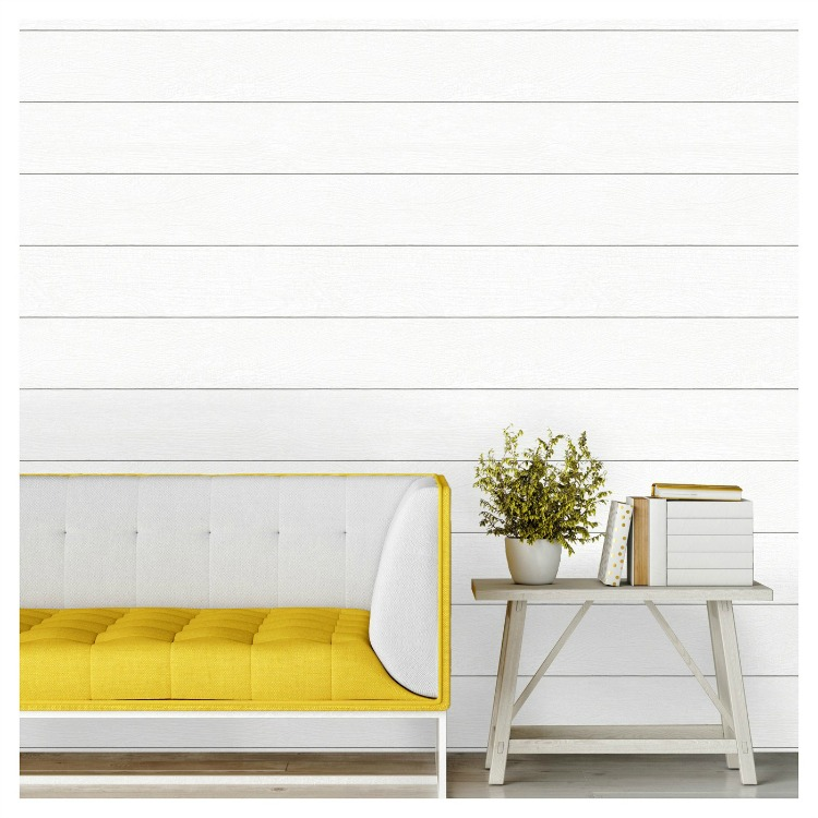 Dining room plans - white shiplap wallpaper