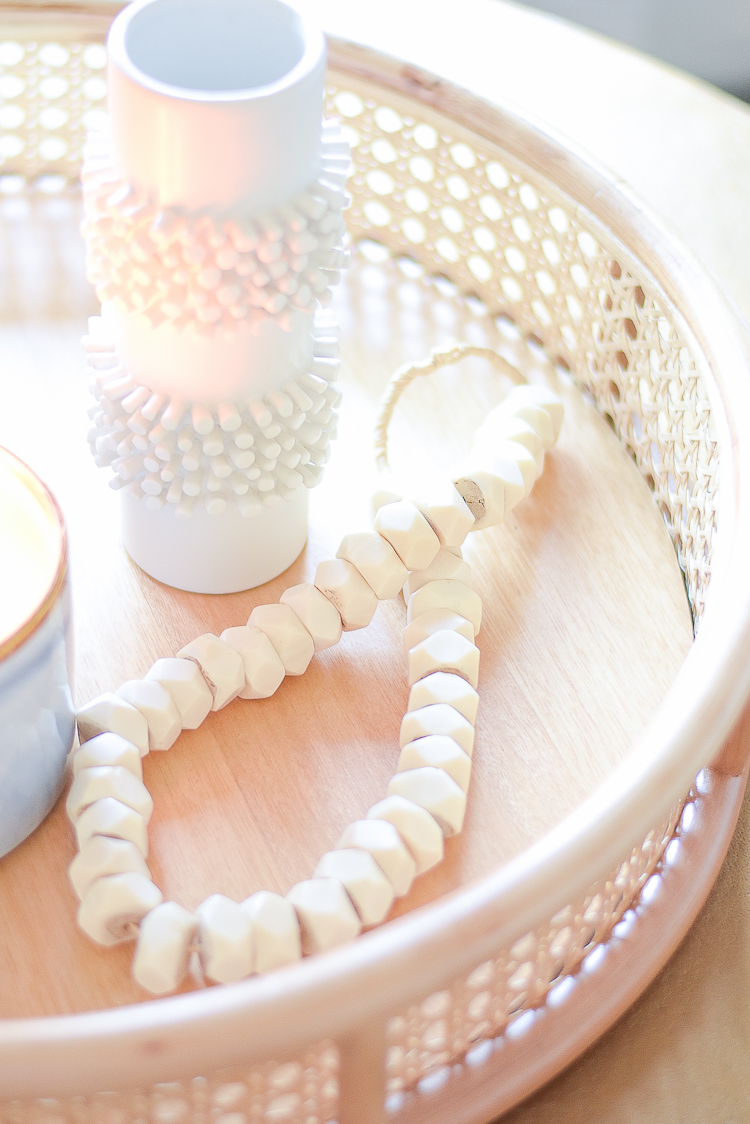 Creating a cozy winter home - bone bead strand