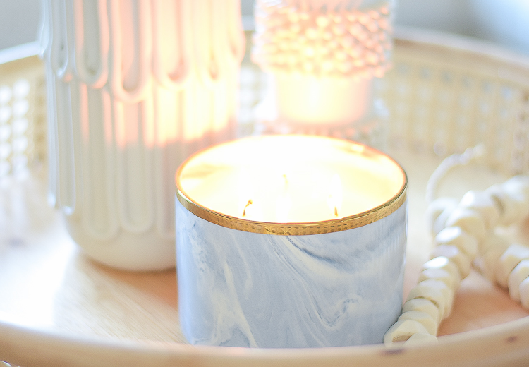 Creating a cozy winter home - marble candle pot