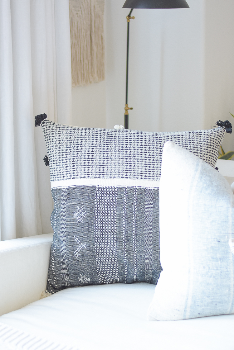 Creating a cozy winter home with textured, boho chic pillows
