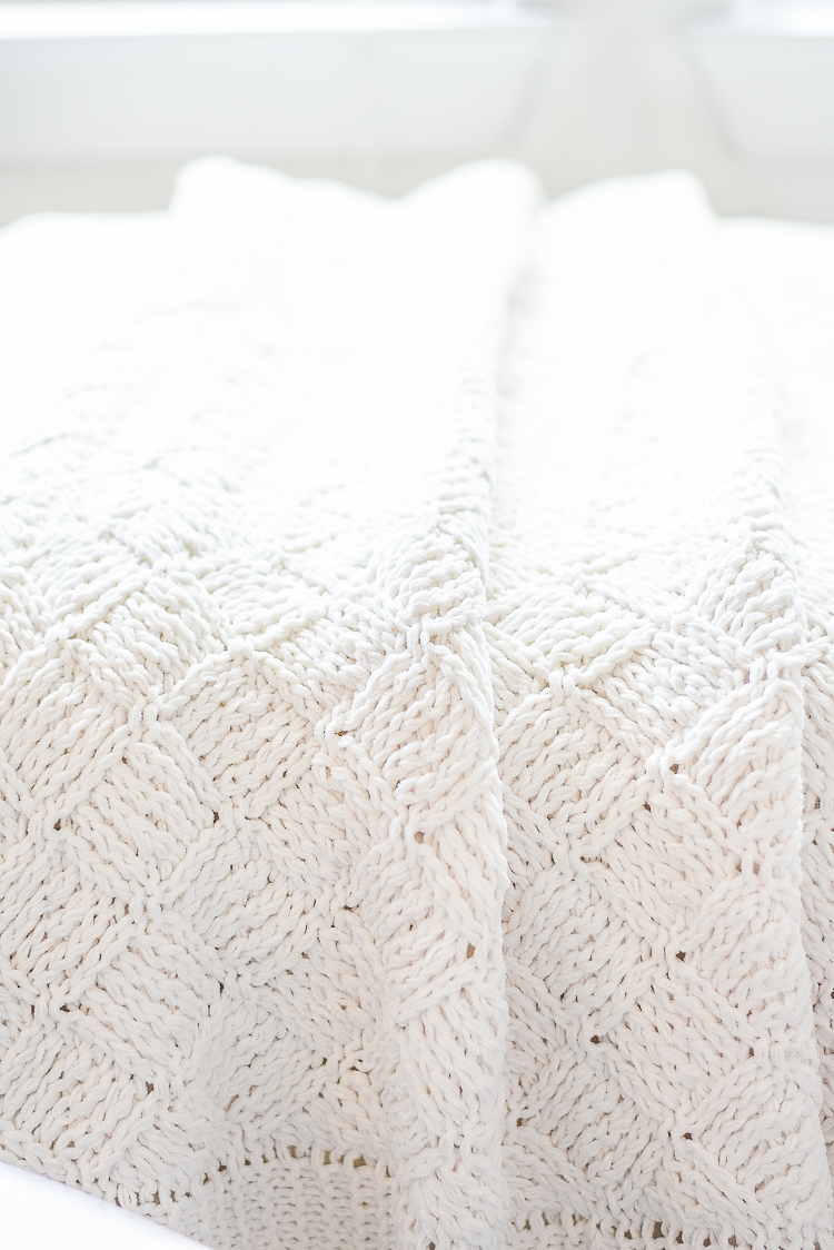 Creating a cozy winter home - chunky knit throw in cream