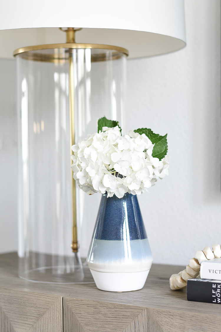 TV gallery wall updates + reveal - blue ombre vase
