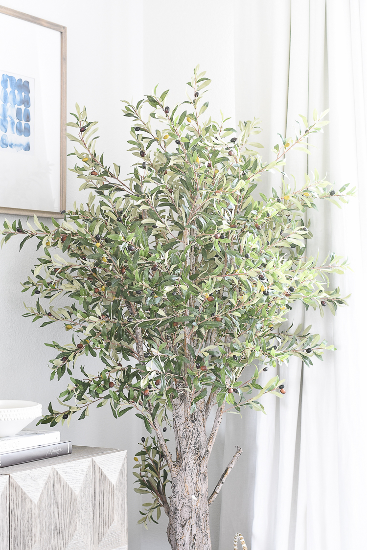 TV Gallery Wall Updates + Reveal + The best faux olive trees
