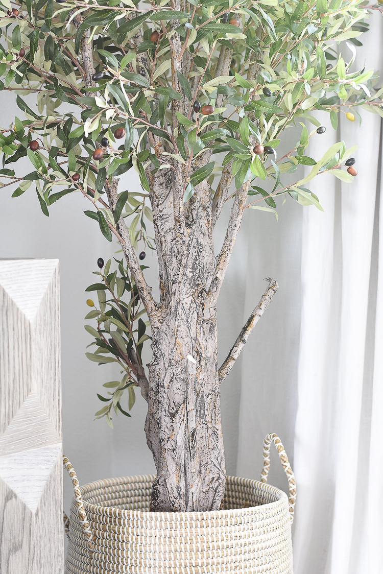 TV Gallery Wall Updates + Reveal - Realistic faux olive tree
