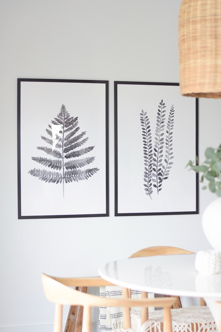Casual, Chic Dining Room Reveal - black & white fern prints with frame