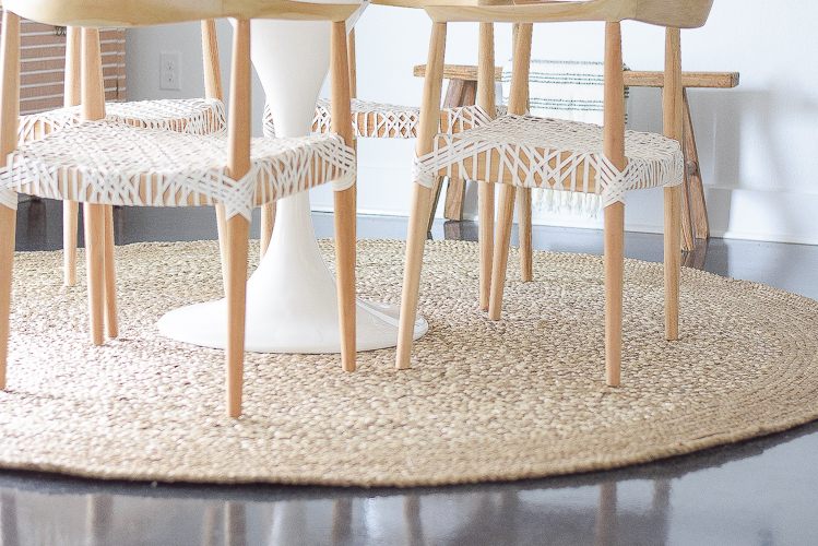 Boho chic dining room reveal - round jute rug