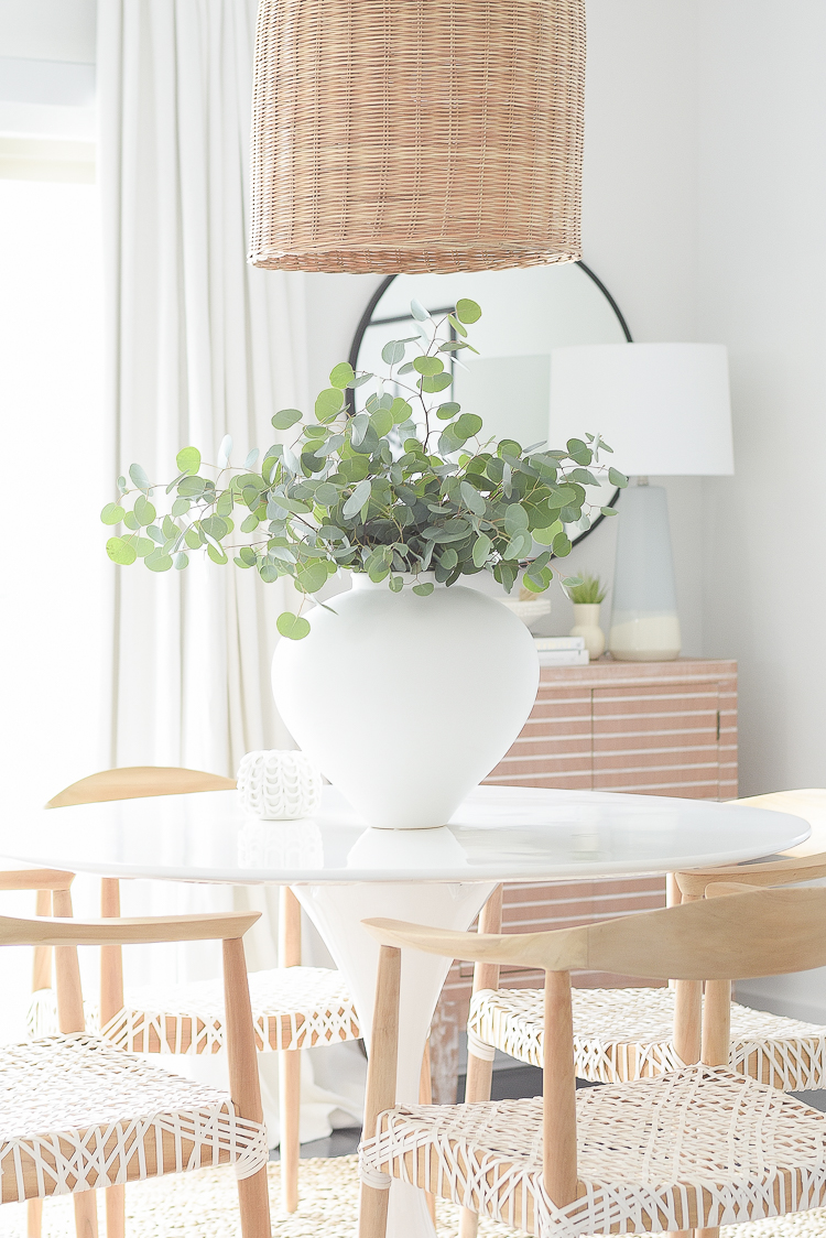 Casual chic Dining Room Reveal - large white vase with eucalyptus bundle