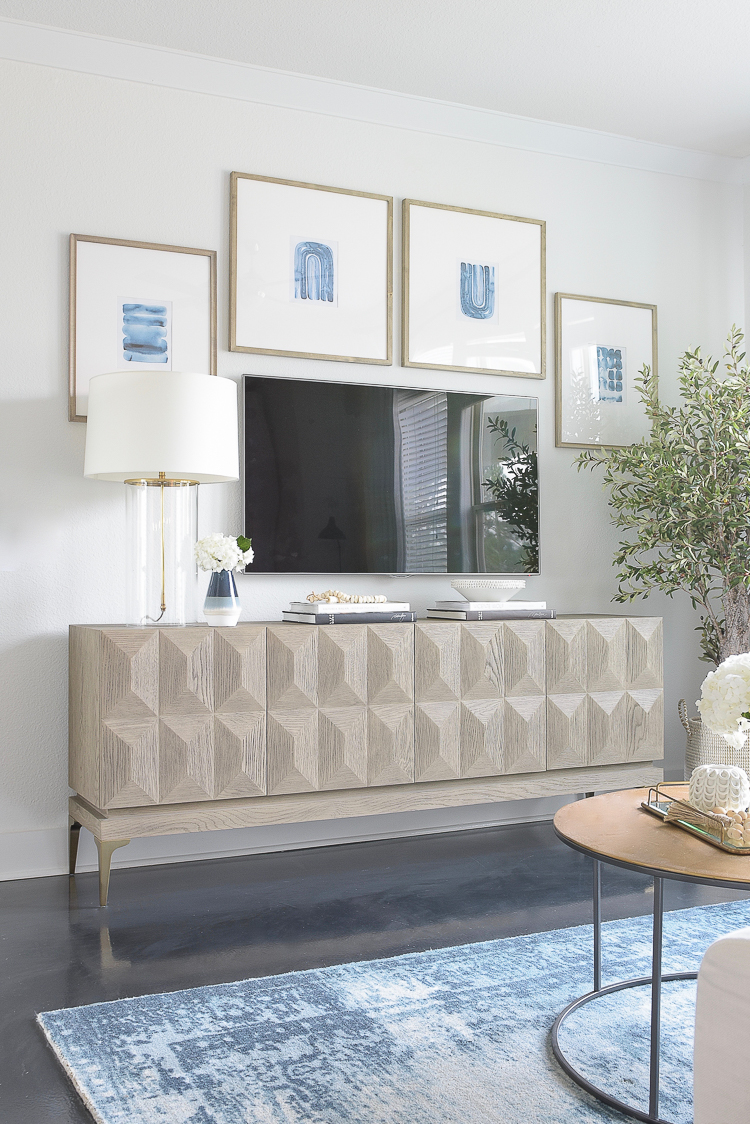 TV Gallery Wall Updates & Reveal - faceted media cabinet