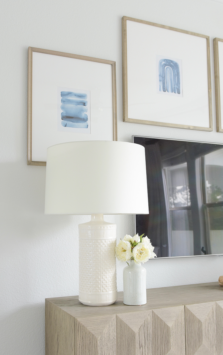 Light & Airy Spring Living Room Tour - Jamie Young White Textured Lamp