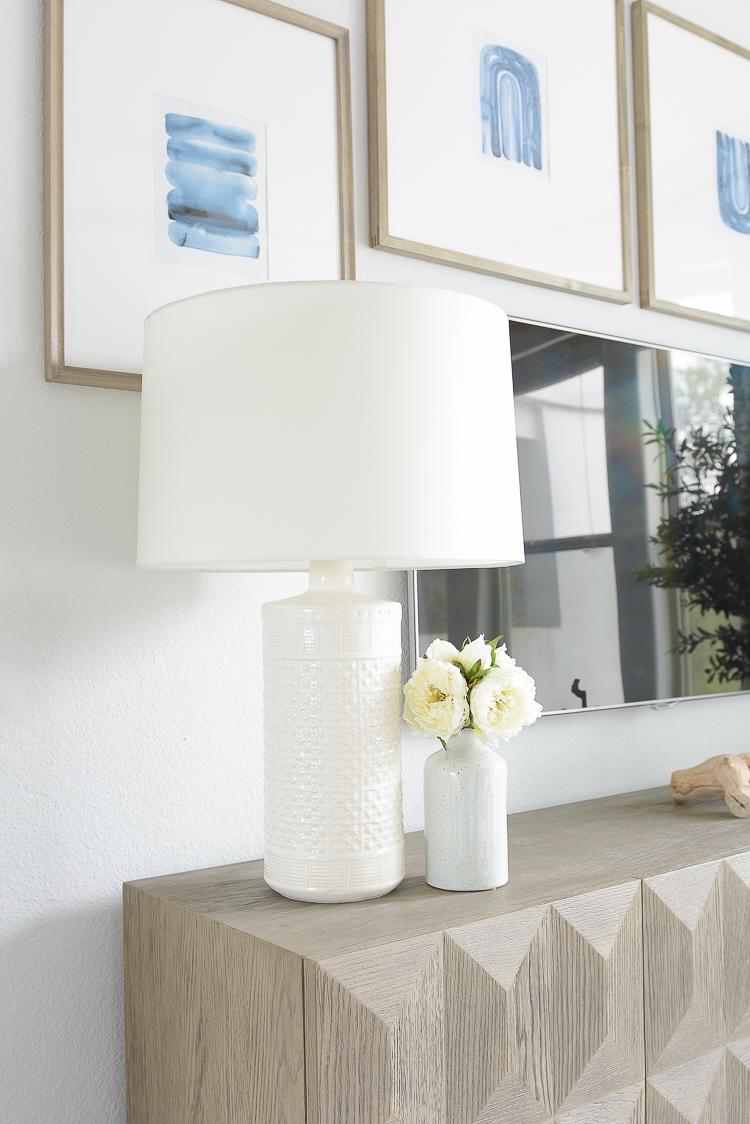 Light & Airy Spring Living Room Tour - Jaimie Young white textured lamp